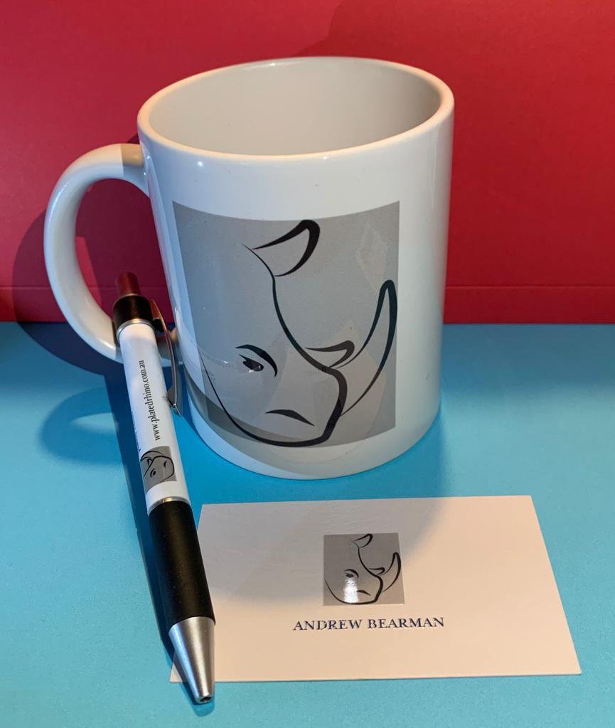 Plated Rhino mug and pen